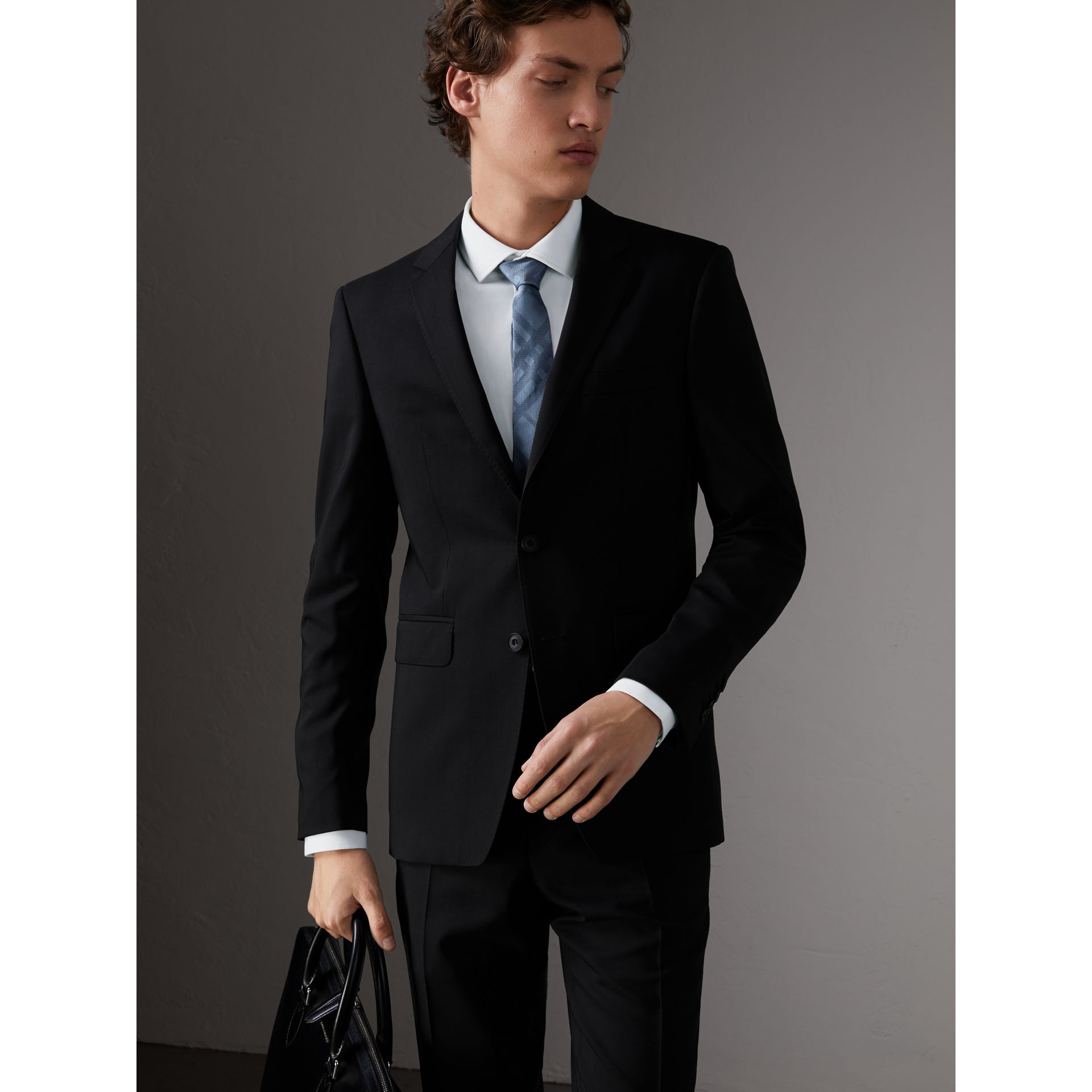 Slim Fit Wool Suit in Black - Men | Burberry Singapore - gallery image 6