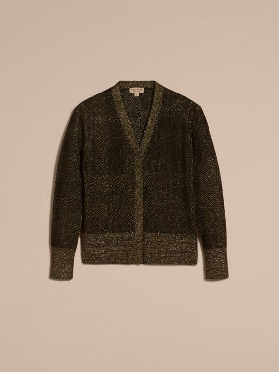 Check Merino Wool and Metallic Cardigan - cell image 3
