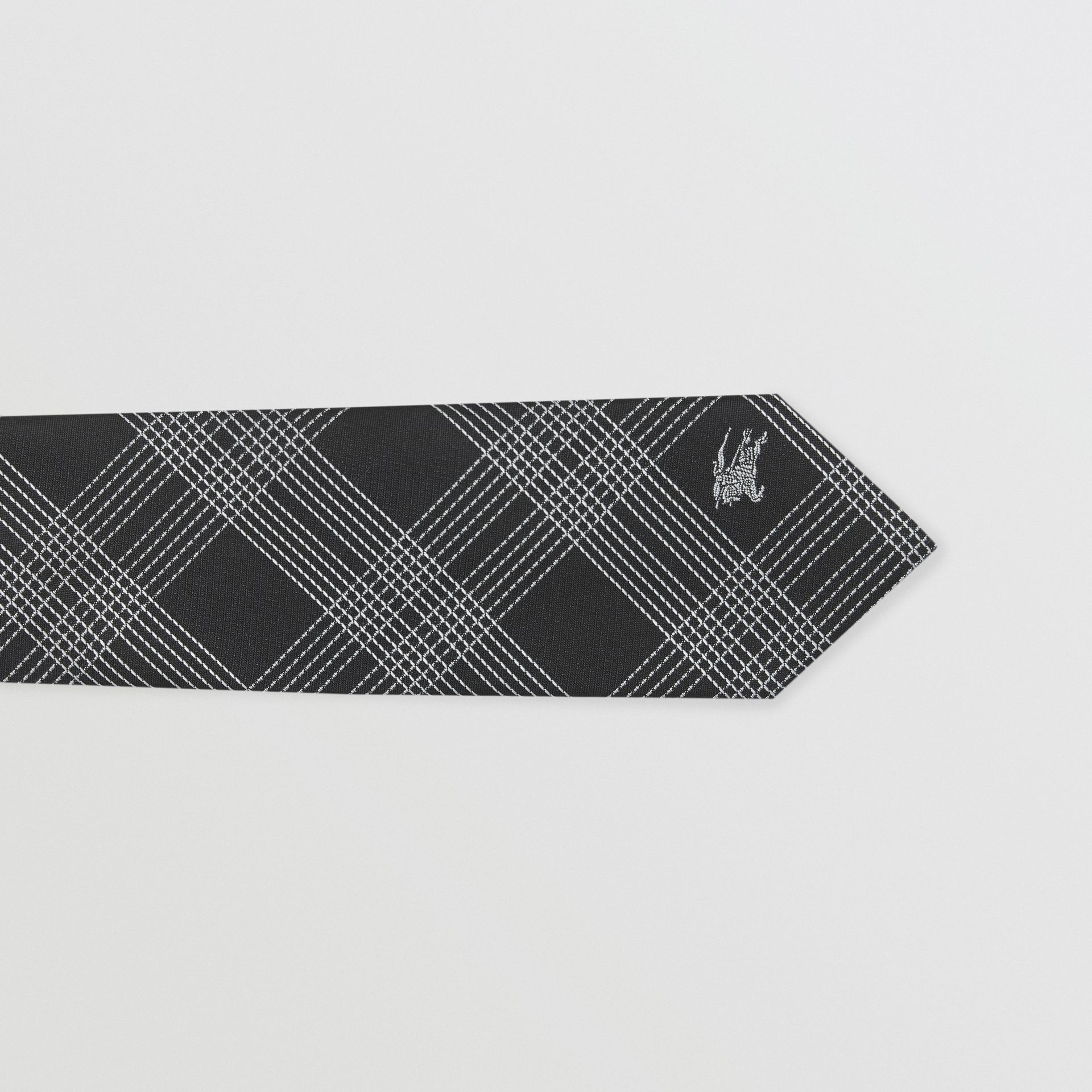 Modern Cut Check Silk Jacquard Tie in Black - Men | Burberry - gallery image 1