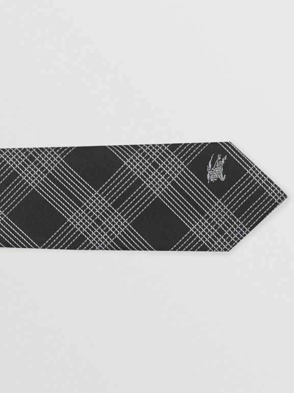 Modern Cut Check Silk Jacquard Tie in Black - Men | Burberry - cell image 1