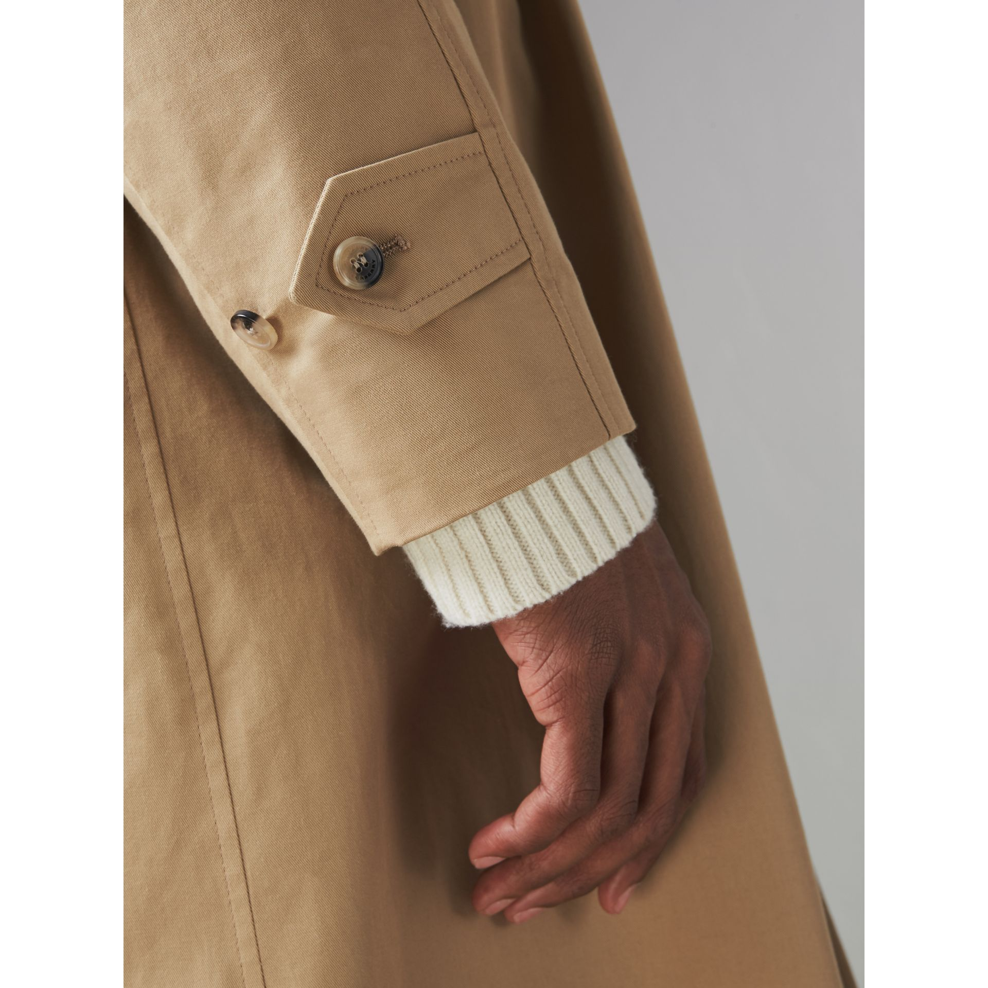 Cotton Gabardine Car Coat in Camel - Men | Burberry Singapore - gallery image 1