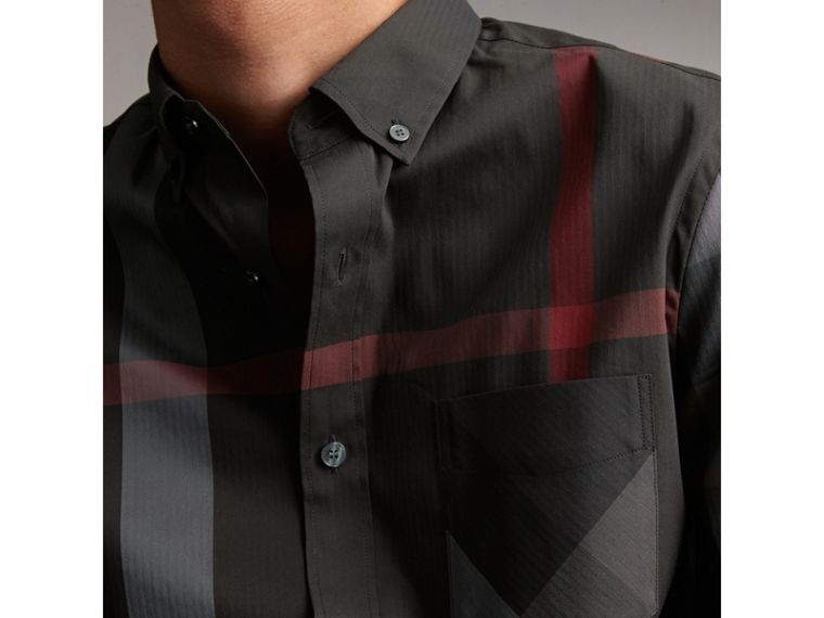 Short-sleeve Check Stretch Cotton Blend Shirt in Charcoal - Men | Burberry Australia - cell image 1