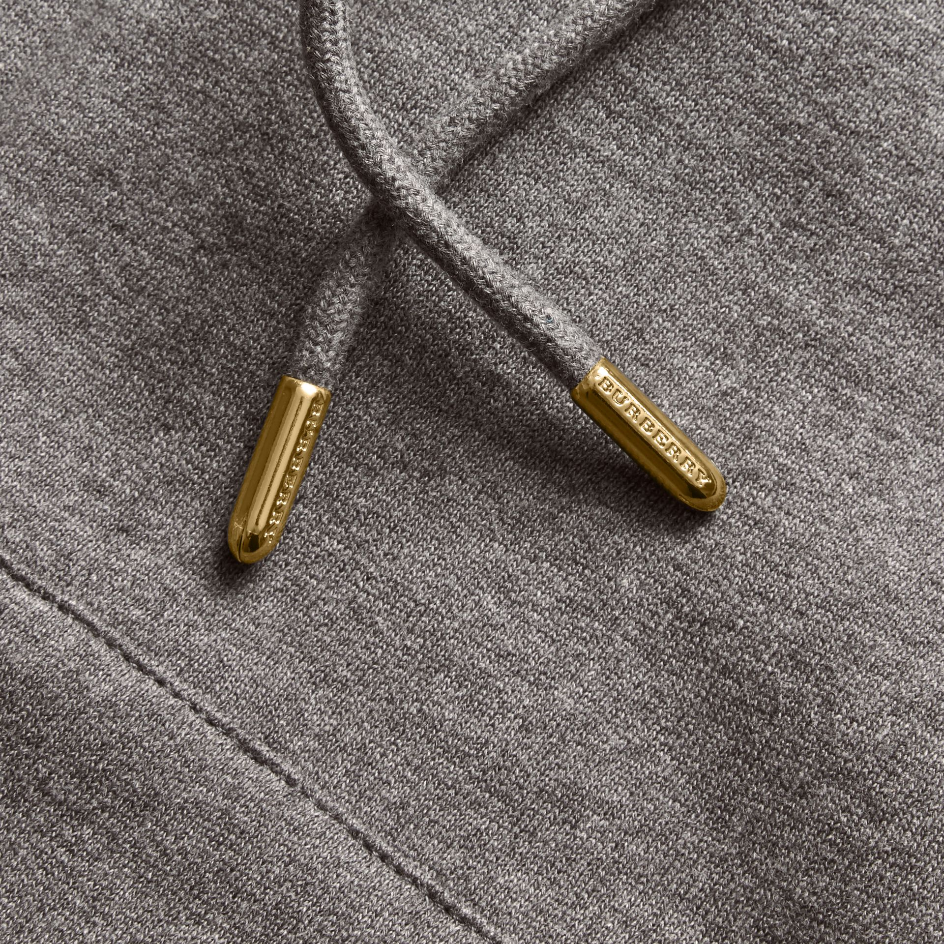 Hooded Zip-front Cotton Blend Sweatshirt in Mid Grey Melange - Women | Burberry - gallery image 2