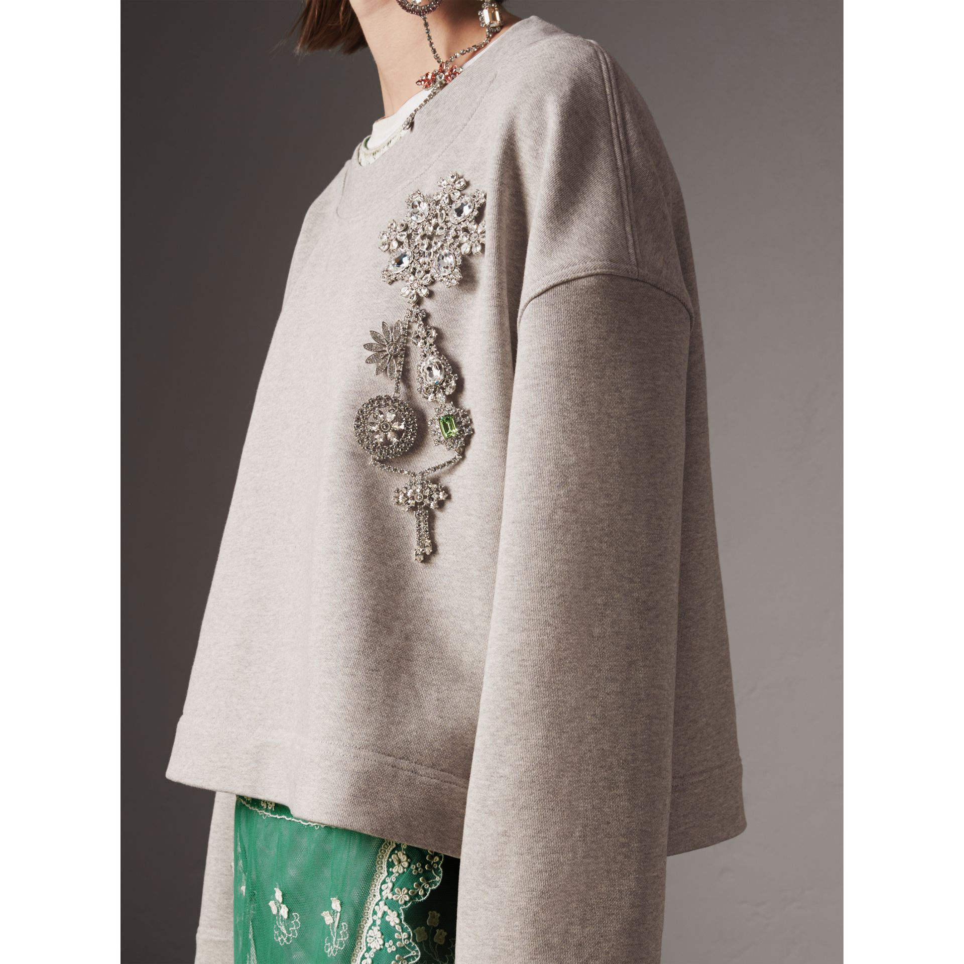 Cropped Sweatshirt with Crystal Brooch in Light Grey Melange - Women | Burberry Hong Kong - gallery image 1