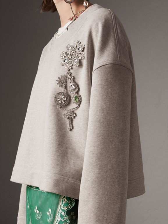 Cropped Sweatshirt with Crystal Brooch in Light Grey Melange - Women | Burberry - cell image 1