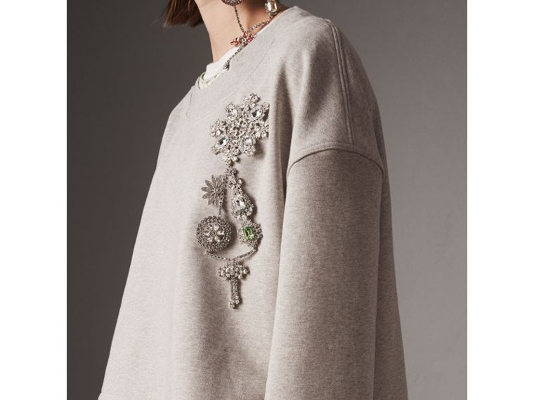 Cropped Sweatshirt with Crystal Brooch in Light Grey Melange - Women | Burberry United Kingdom - cell image 1