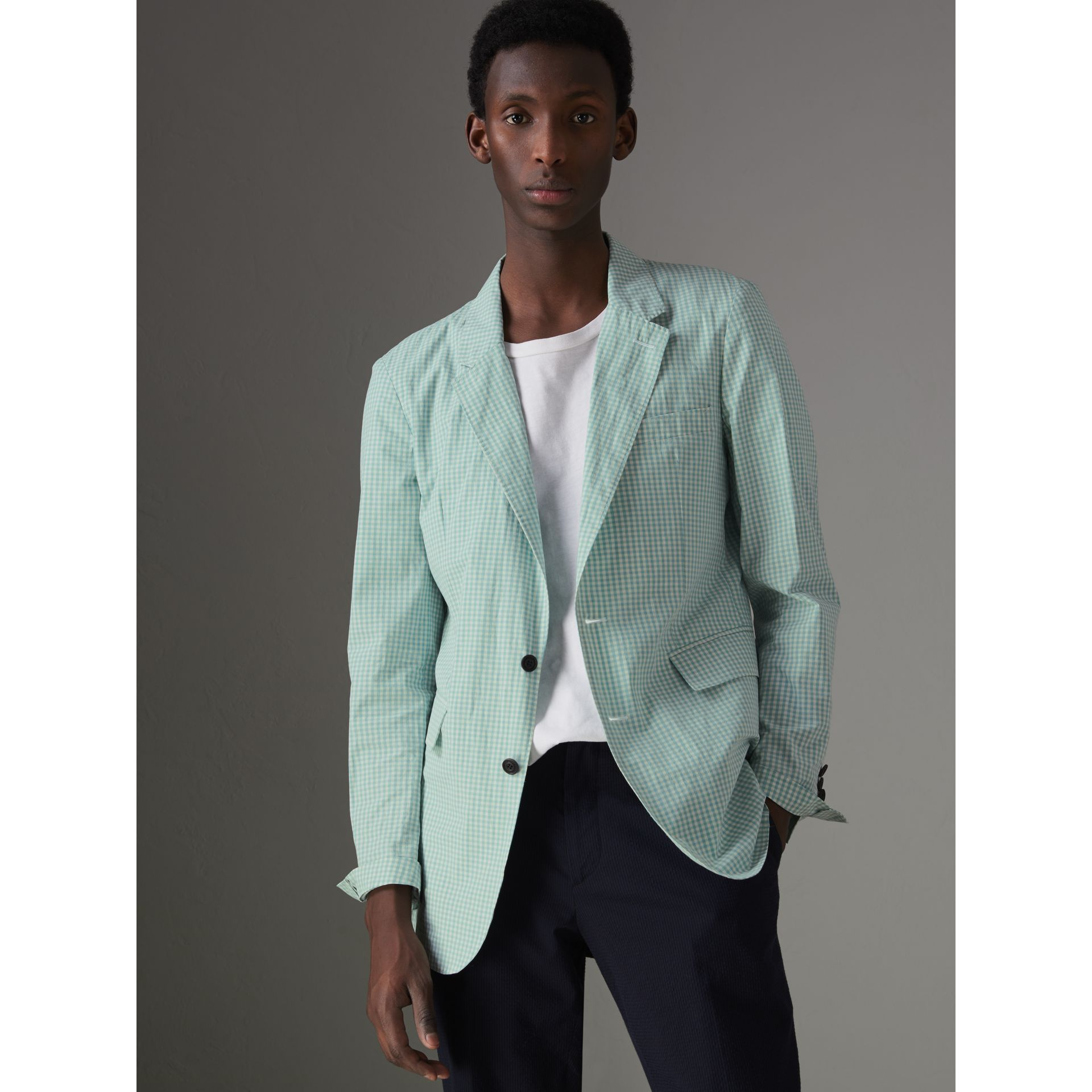 Slim Fit Gingham Cotton Tailored Jacket in Pale Opal - Men | Burberry - gallery image 5