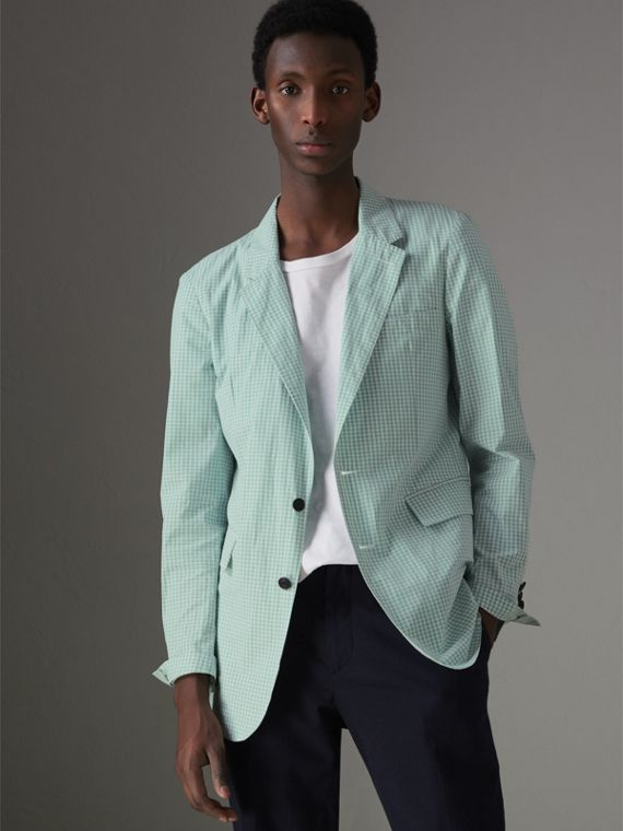 Slim Fit Gingham Cotton Tailored Jacket in Pale Opal