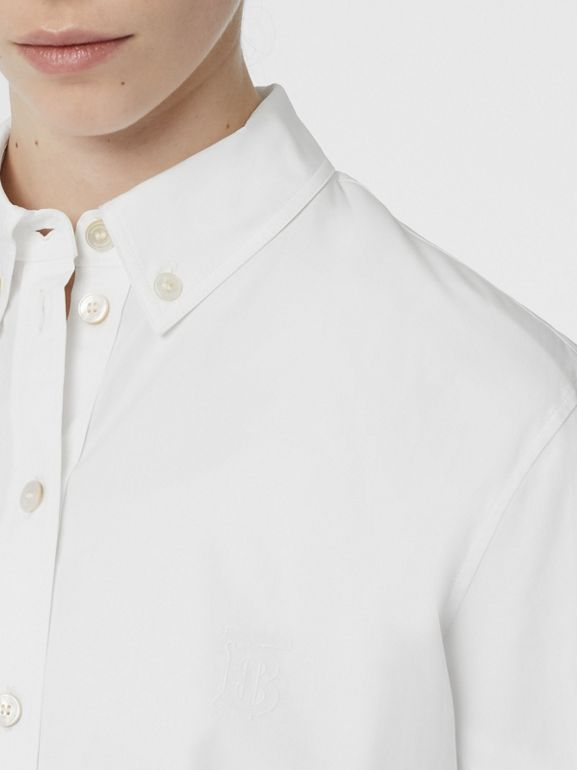 Button-down Collar Monogram Motif Cotton Shirt in White - Women | Burberry - cell image 1