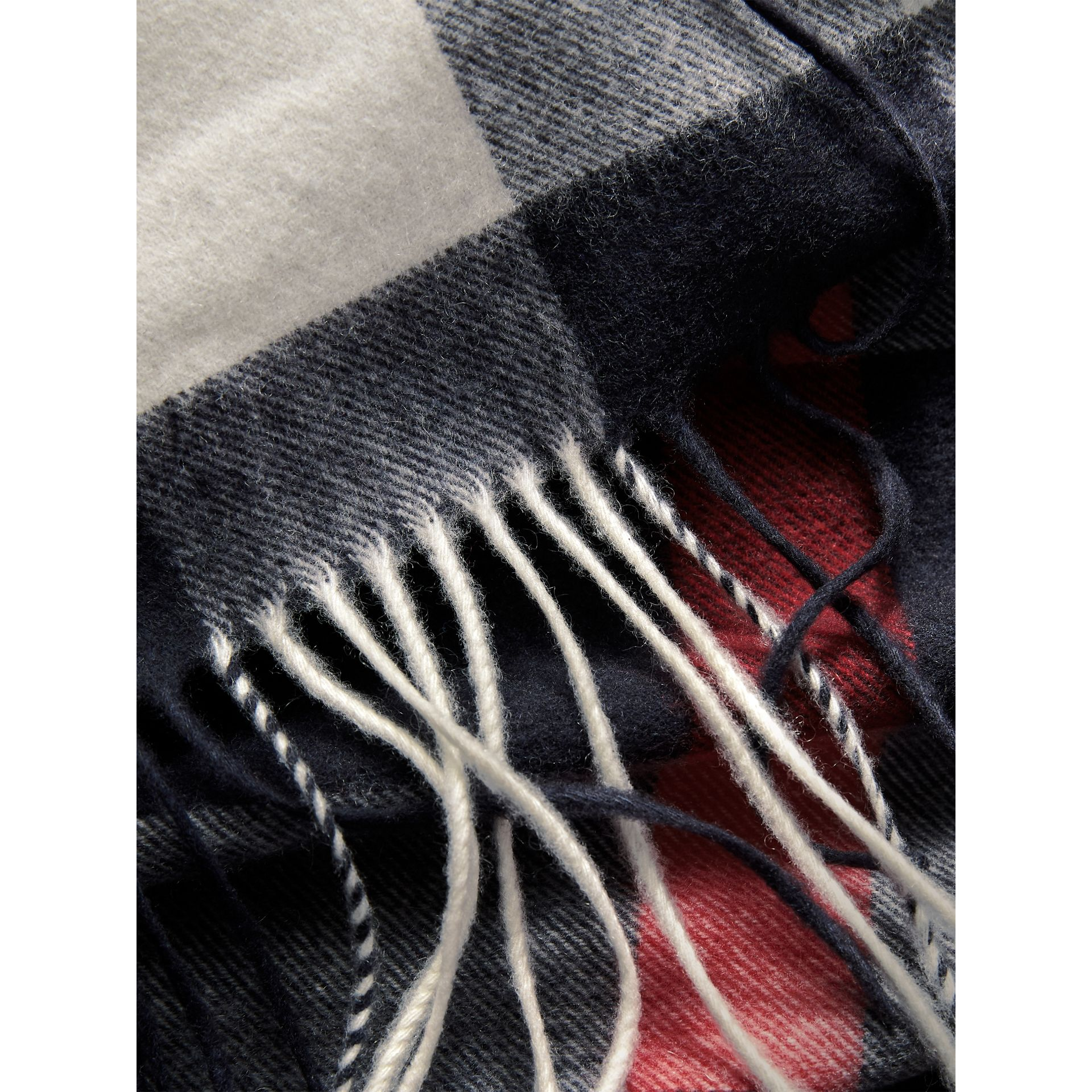 Oversize Check Cashmere Scarf in Navy - Women | Burberry - gallery image 5