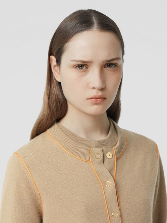 Silk Trim Monogram Motif Cashmere Cardigan in Archive Beige - Women | Burberry - cell image 1