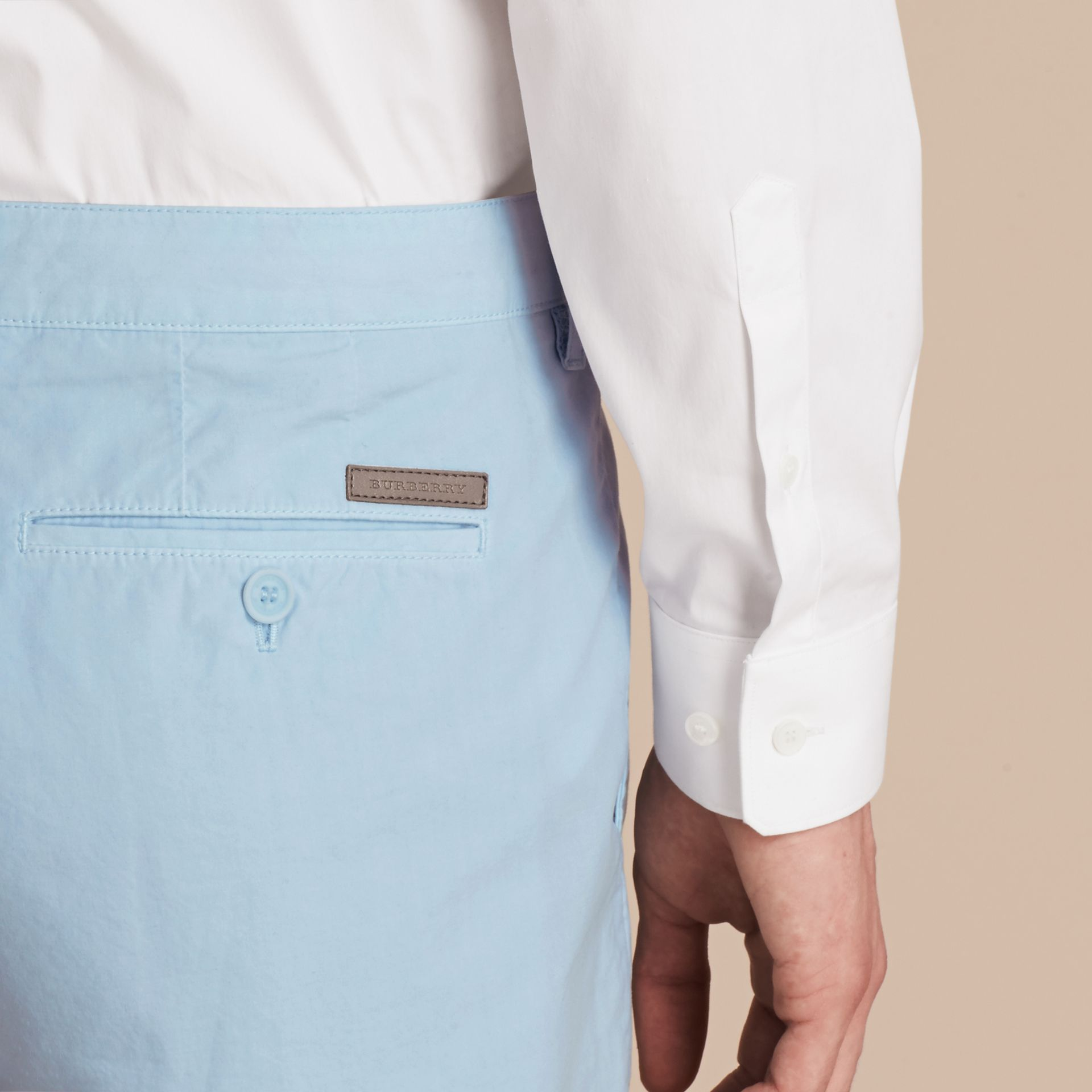 Cotton Poplin Chino Shorts Pale Opal Blue - gallery image 6