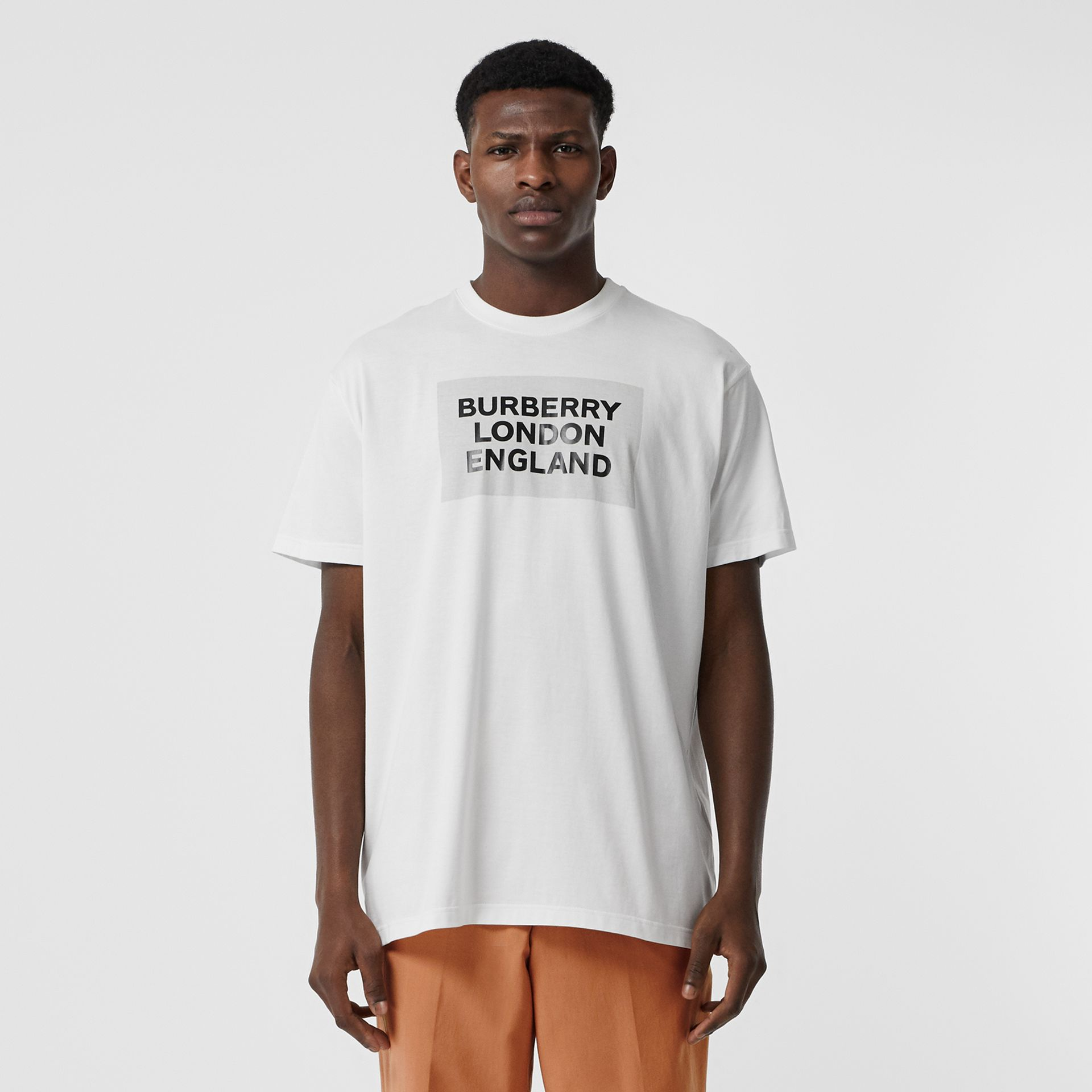 Logo Print Cotton Oversized T-shirt in Optic White | Burberry - gallery image 0