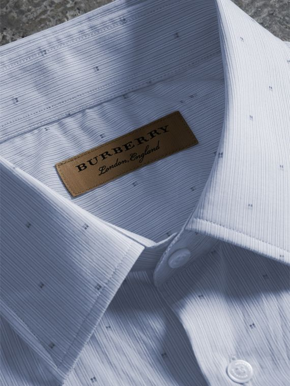 Modern Fit Striped Fil Coupé Cotton Poplin Shirt - Men | Burberry - cell image 2