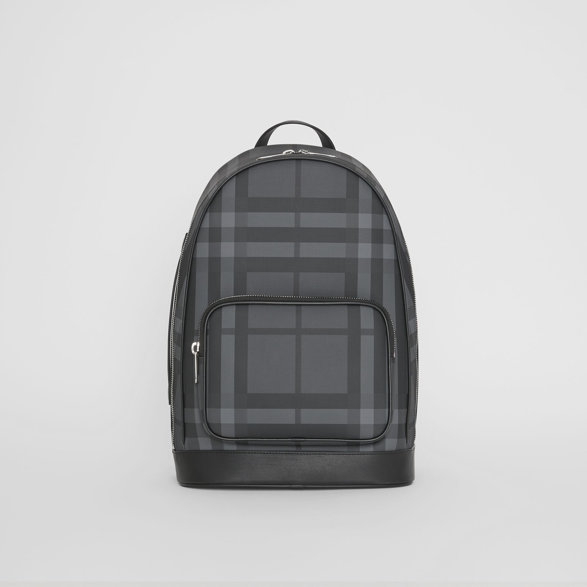 London Check and Leather Backpack in Charcoal/black - Men | Burberry United Kingdom - gallery image 0