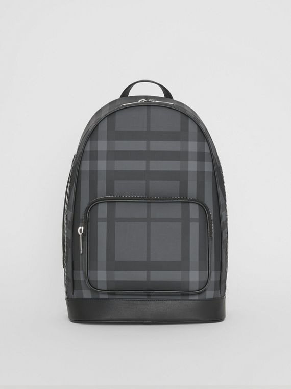 London Check and Leather Backpack in Charcoal/black