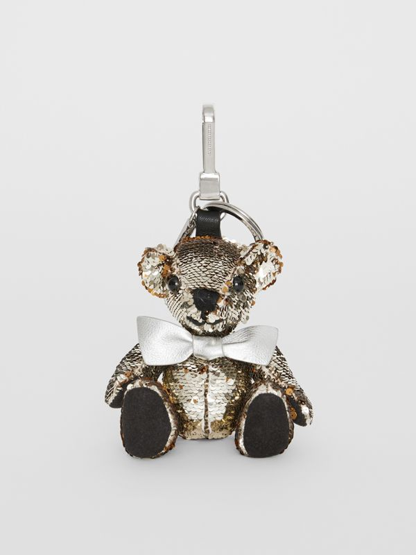 Thomas Bear Charm in Sequins and Leather in Silver | Burberry United Kingdom - cell image 2
