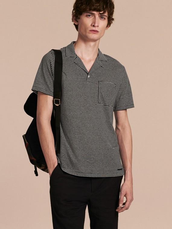 Striped Cotton Linen Polo Shirt