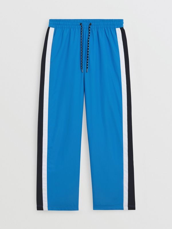 Varsity Stripe Jersey Trackpants in Bright Hydrangea - Men | Burberry - cell image 3