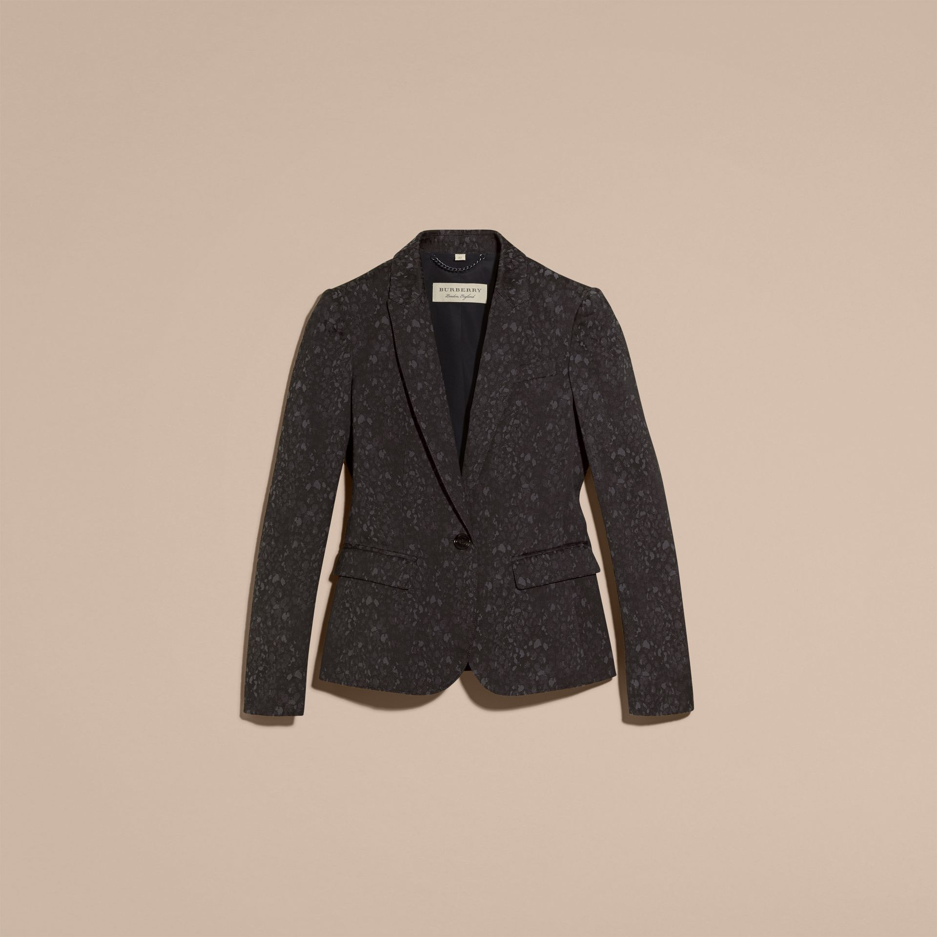 Dark grey Cotton Blend Jacquard Jacket - gallery image 4