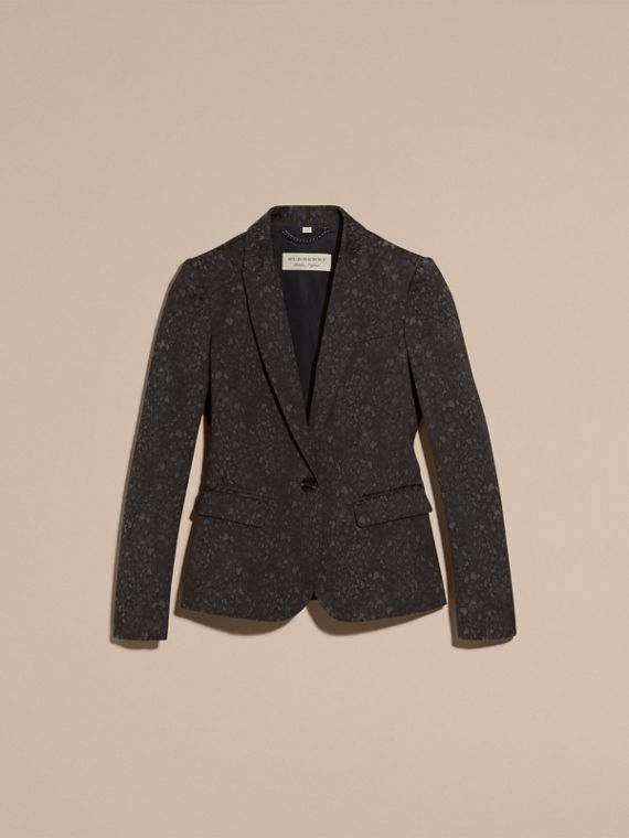 Dark grey Cotton Blend Jacquard Jacket - cell image 3