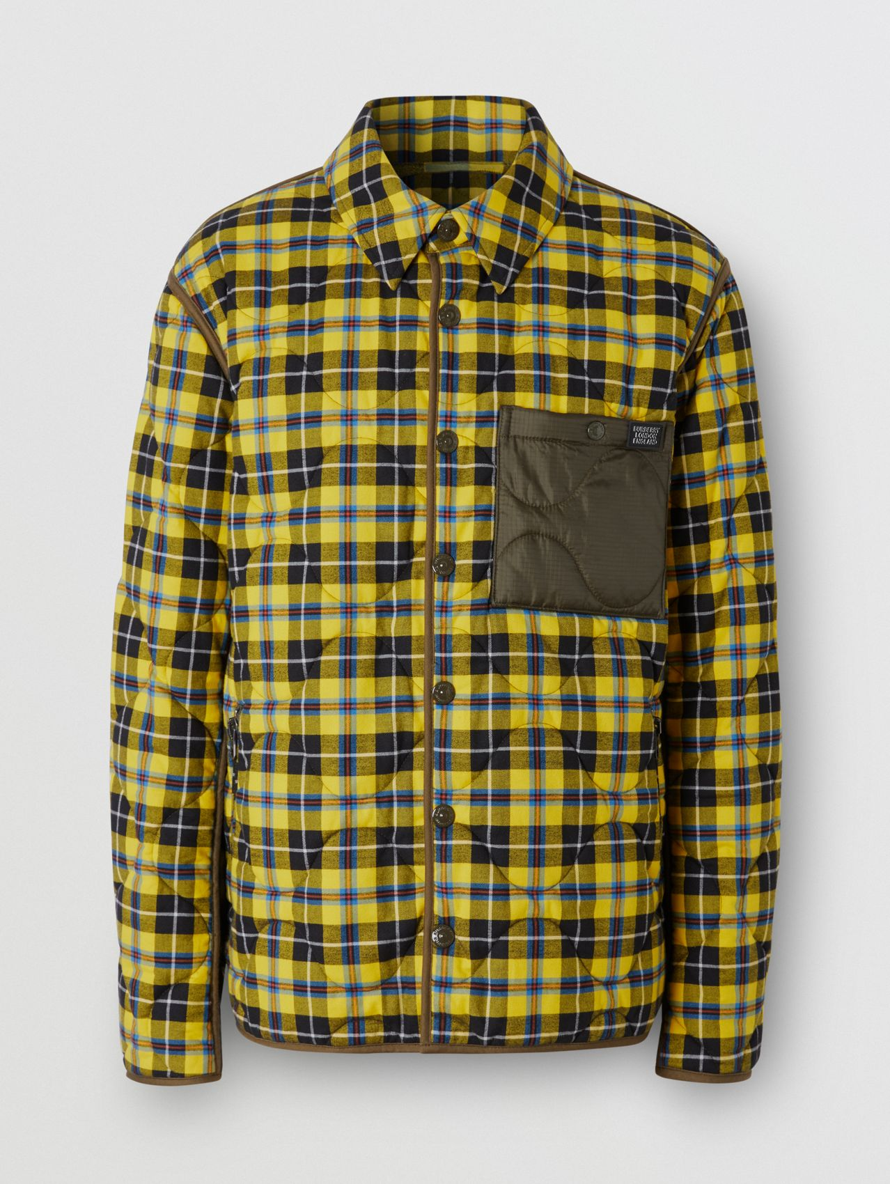 Check Cotton and Quilted Nylon Overshirt in Yellow