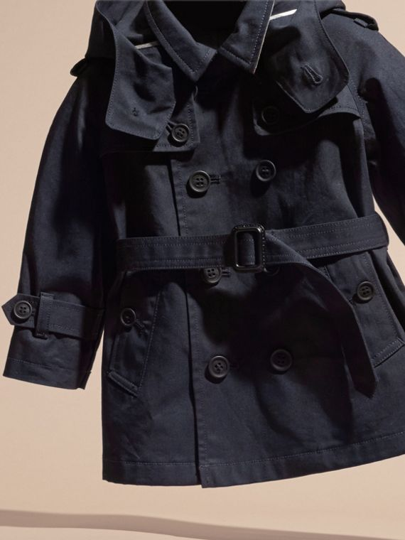 Ink Hooded Cotton Twill Trench Coat - cell image 2