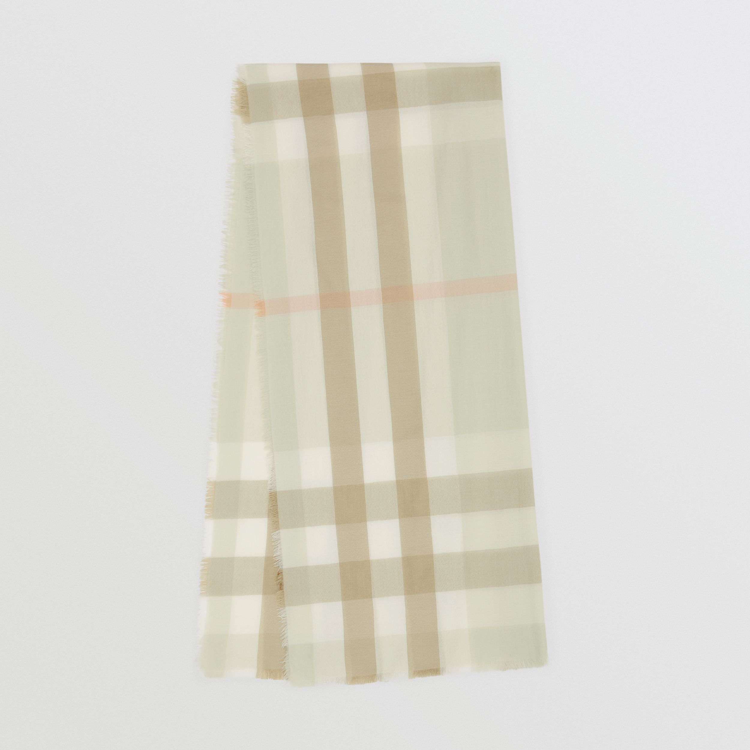 Lightweight Check Cashmere Scarf in Pale Apple Green | Burberry - 1