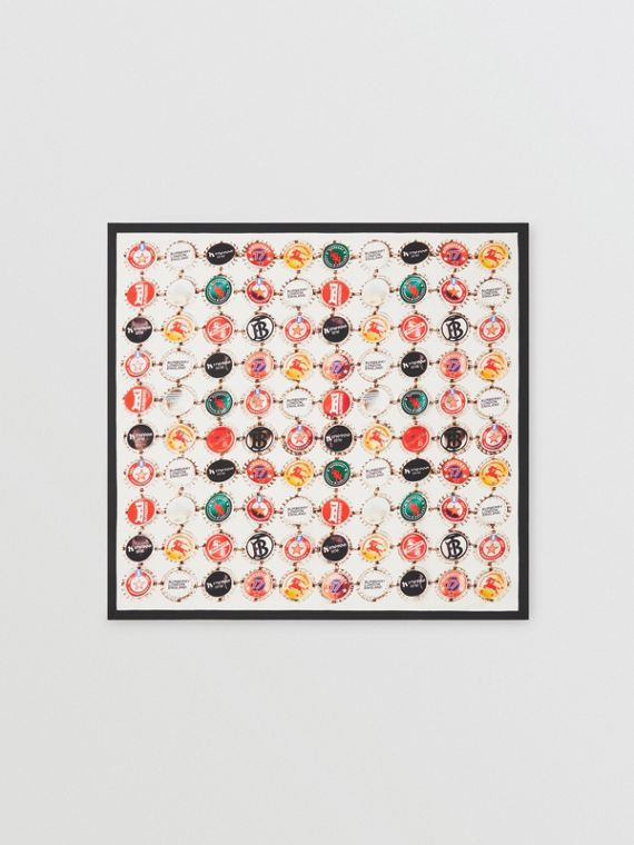 Bottle Cap Print Silk Square Scarf in Multicolour