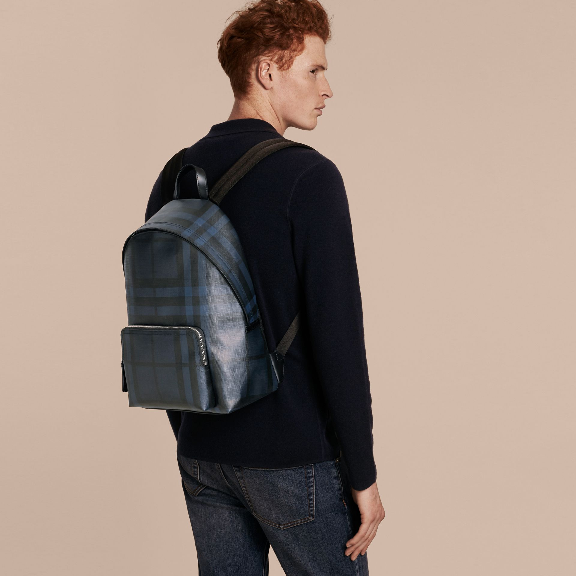 Navy/black Leather Trim London Check Backpack Navy/black - gallery image 3
