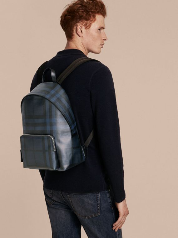 Leather Trim London Check Backpack in Navy/black - Men | Burberry - cell image 2