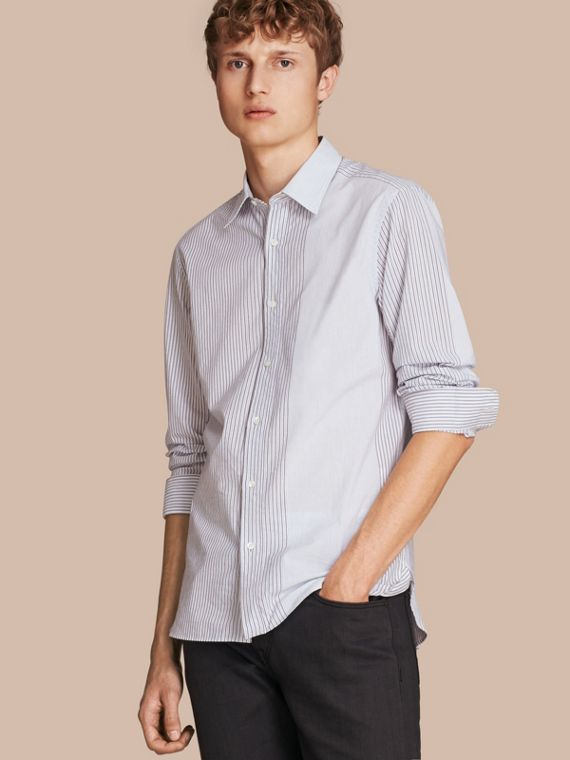 Panelled Stripe Cotton Shirt Light Blue