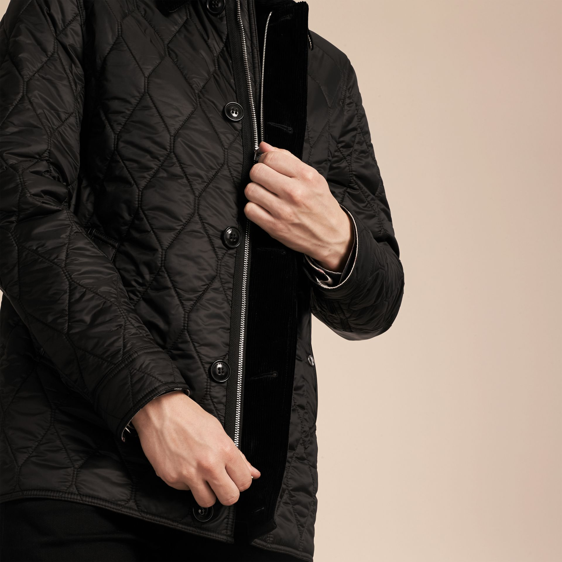 Black Check Detail Quilted Jacket with Corduroy Collar - gallery image 6