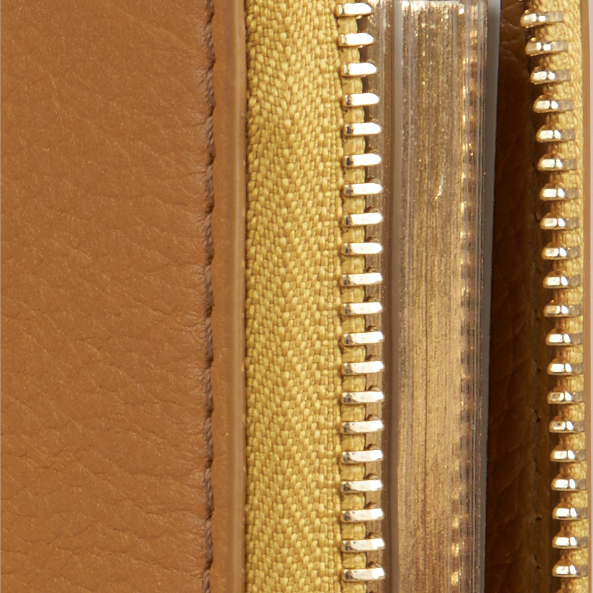 Ziparound Grainy Leather Mini Notebook in Ochre Yellow | Burberry - gallery image 2