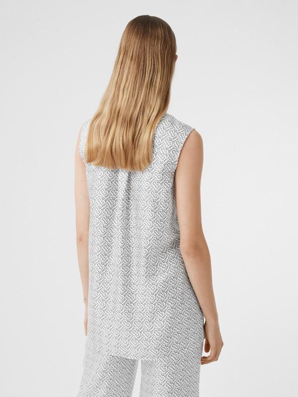 Sleeveless Monogram Print Silk Tie-neck Shirt in White - Women | Burberry - cell image 2
