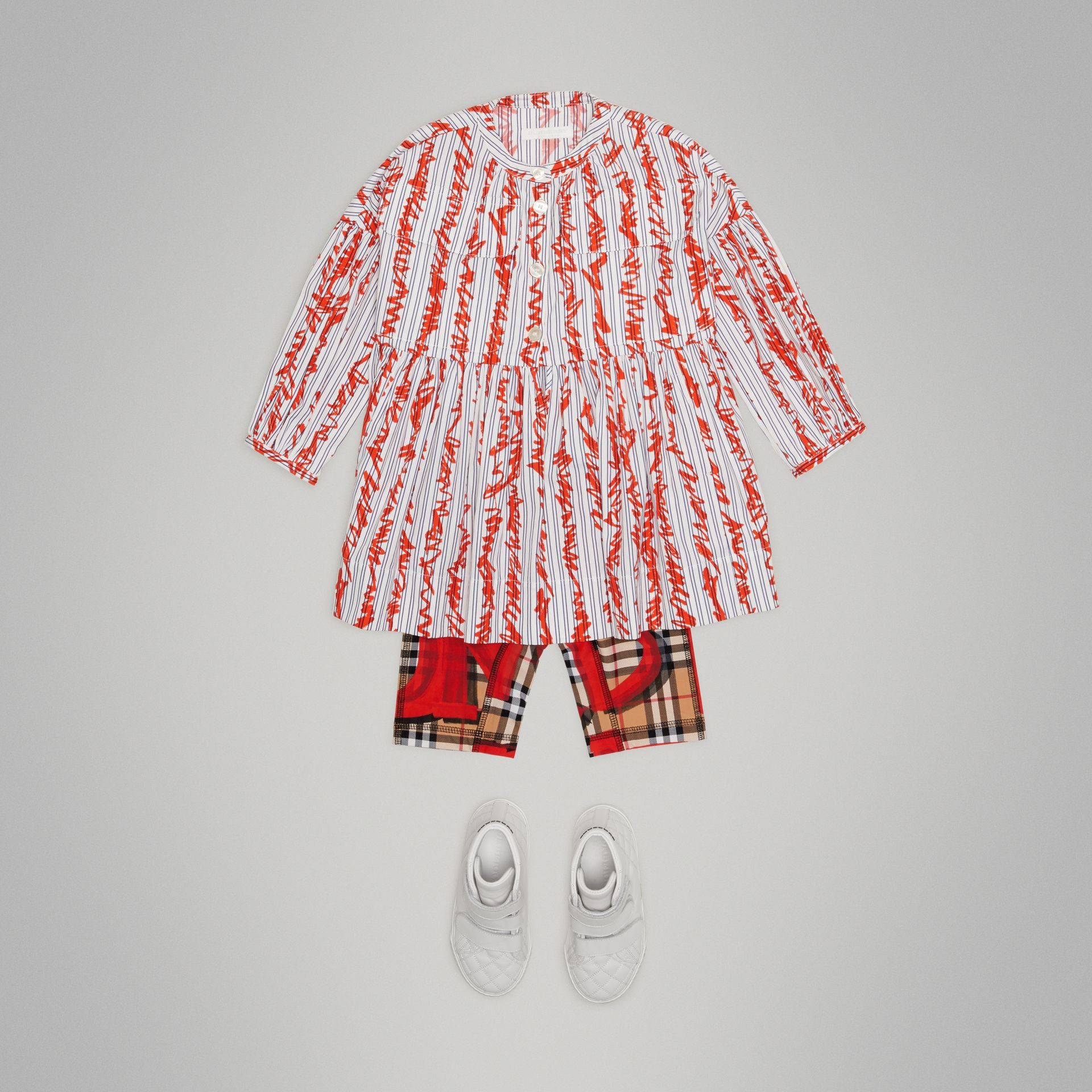Graffiti Print Vintage Check Stretch Jersey Shorts in Bright Red - Children | Burberry United Kingdom - gallery image 2