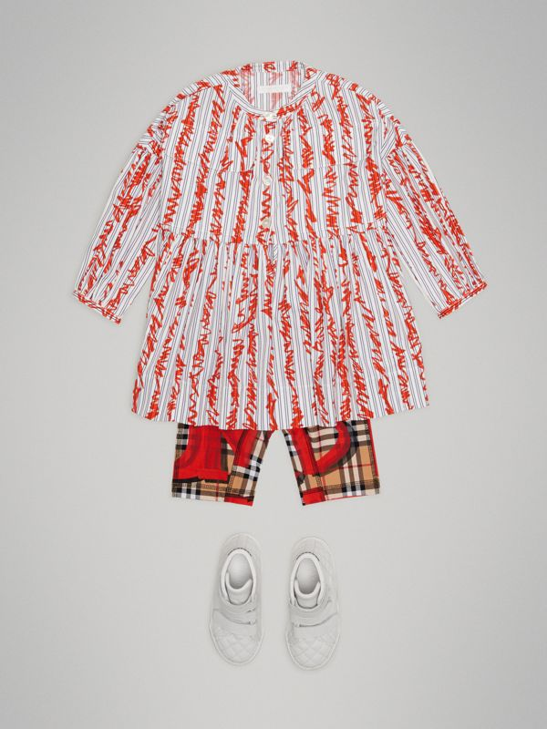 Graffiti Print Vintage Check Stretch Jersey Shorts in Bright Red | Burberry - cell image 2