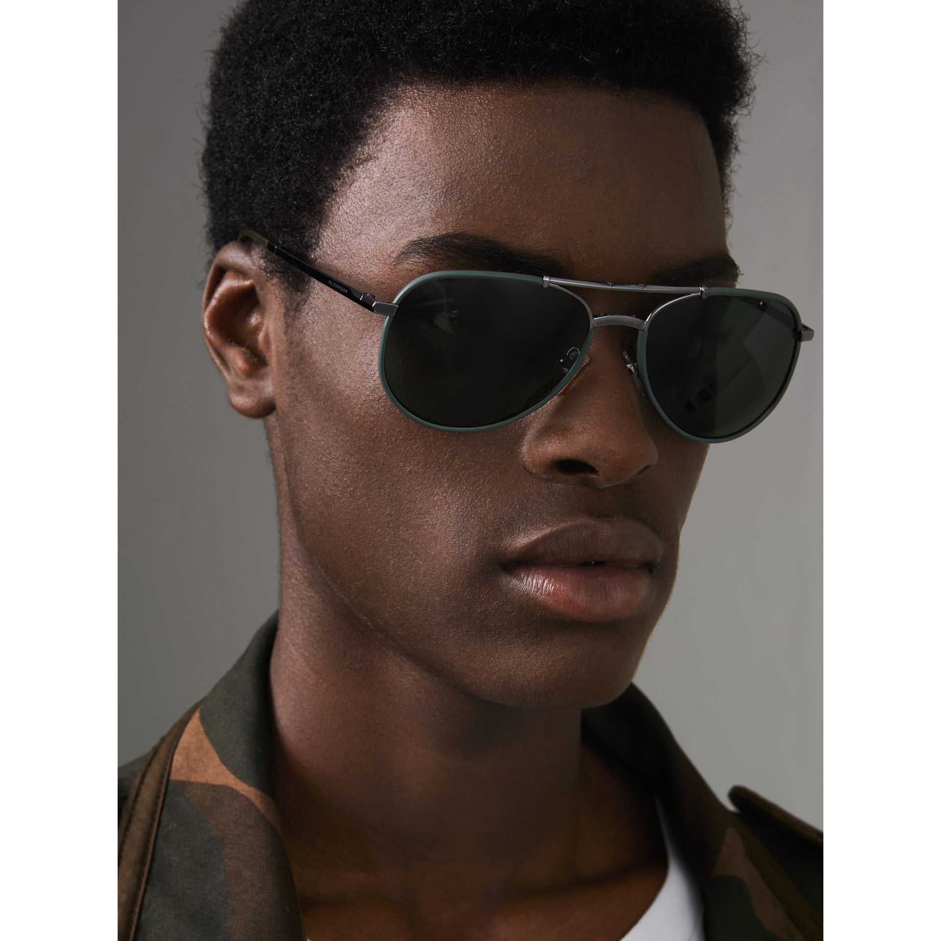 Folding Pilot Sunglasses in Dark Olive - Men | Burberry - gallery image 2