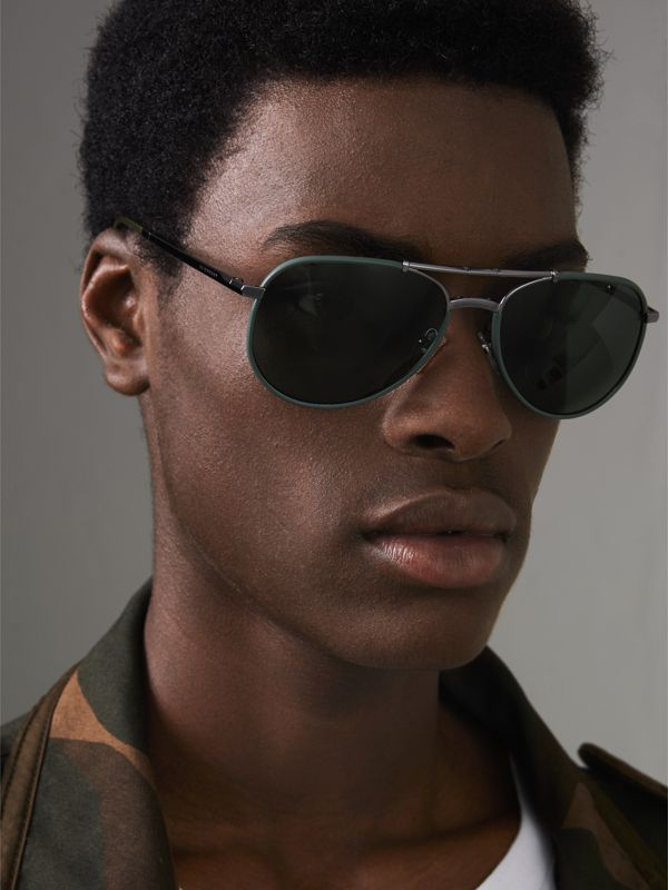 Folding Pilot Sunglasses in Dark Olive - Men | Burberry Hong Kong - cell image 2