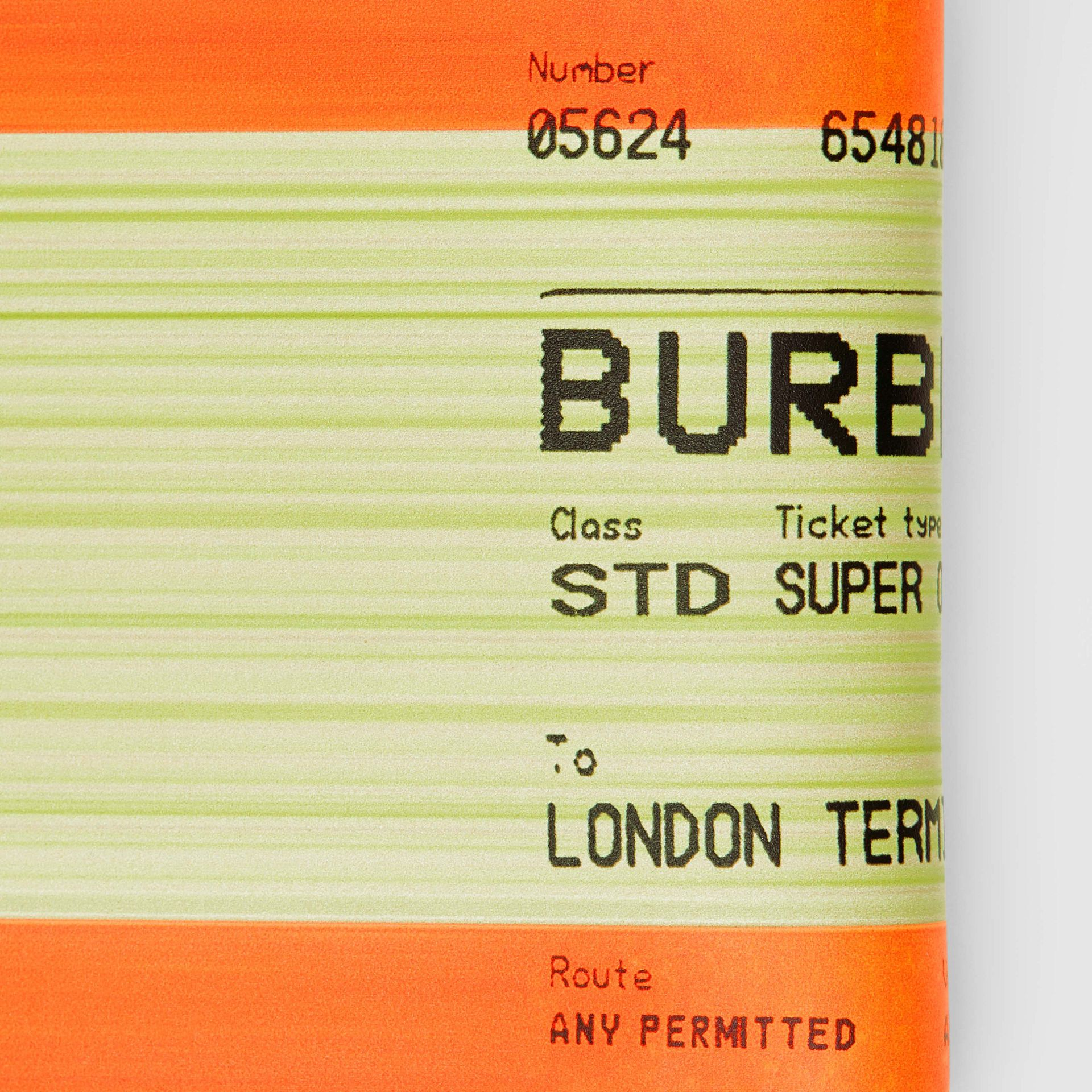 Train Ticket Print Leather International Bifold Wallet in Orange - Men | Burberry - gallery image 1