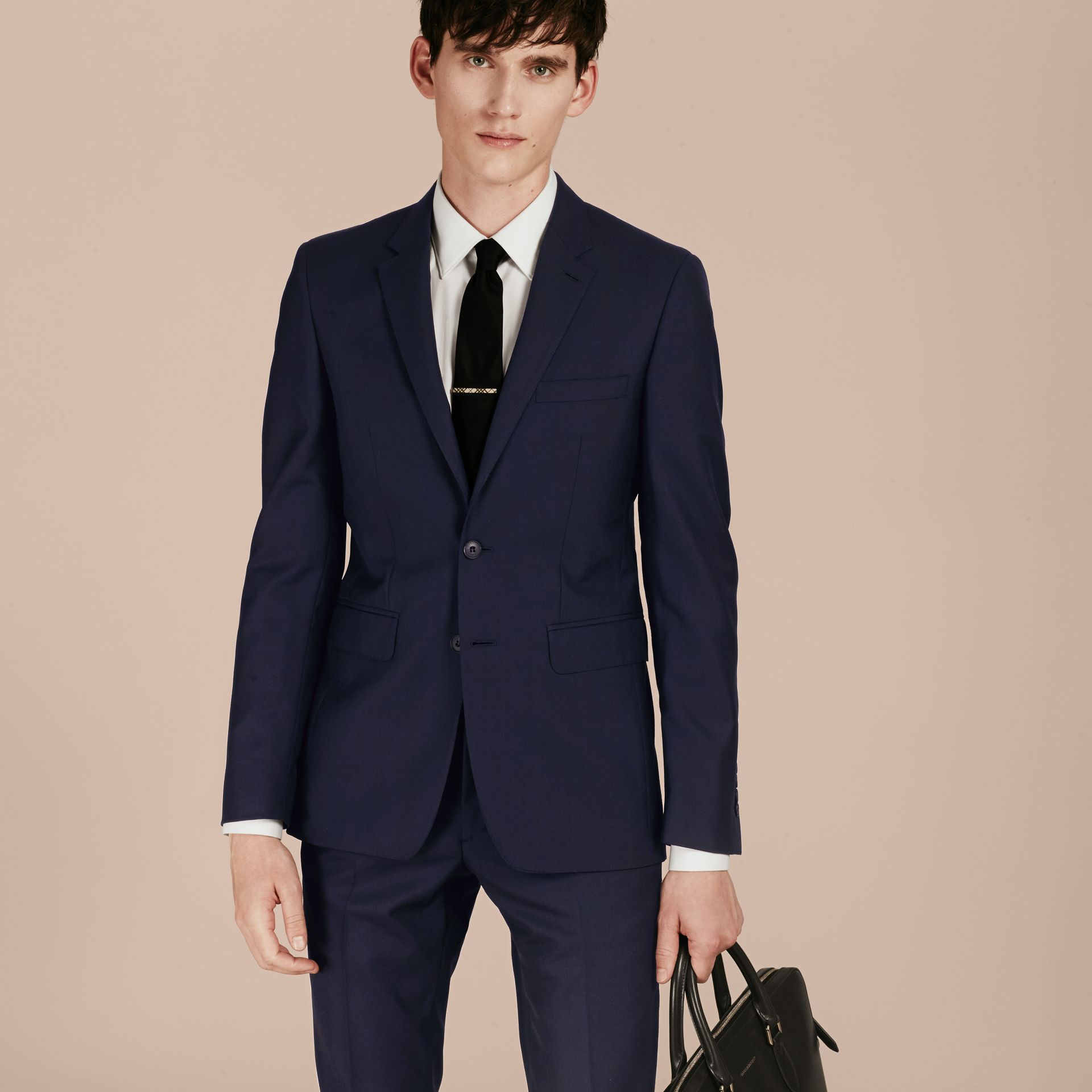 Slim Fit Wool Part-canvas Suit in Navy - gallery image 8