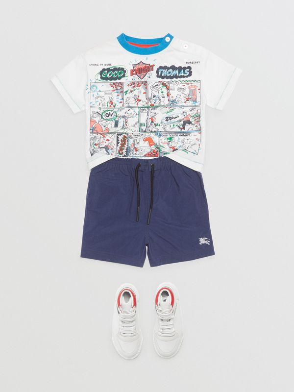Comic Strip Print Cotton T-shirt in Natural White - Children | Burberry - cell image 2