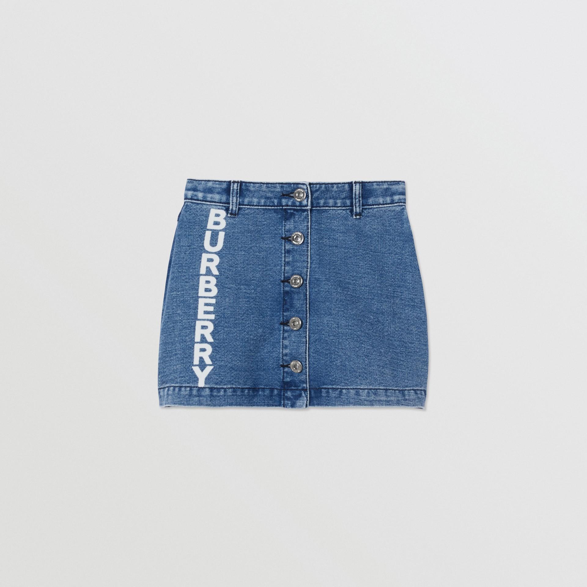 Saia de tecido jeans japonês com estampa de logotipo (Índigo) | Burberry - galeria de imagens 0