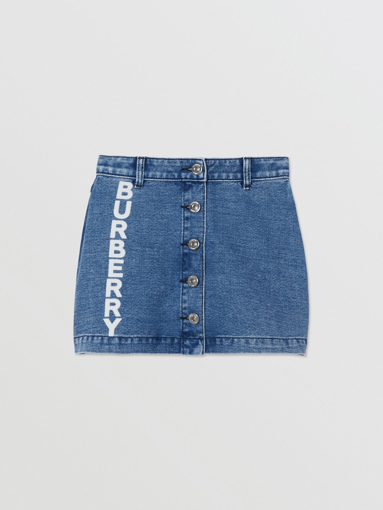 Logo Print Japanese Denim Skirt (Indigo)