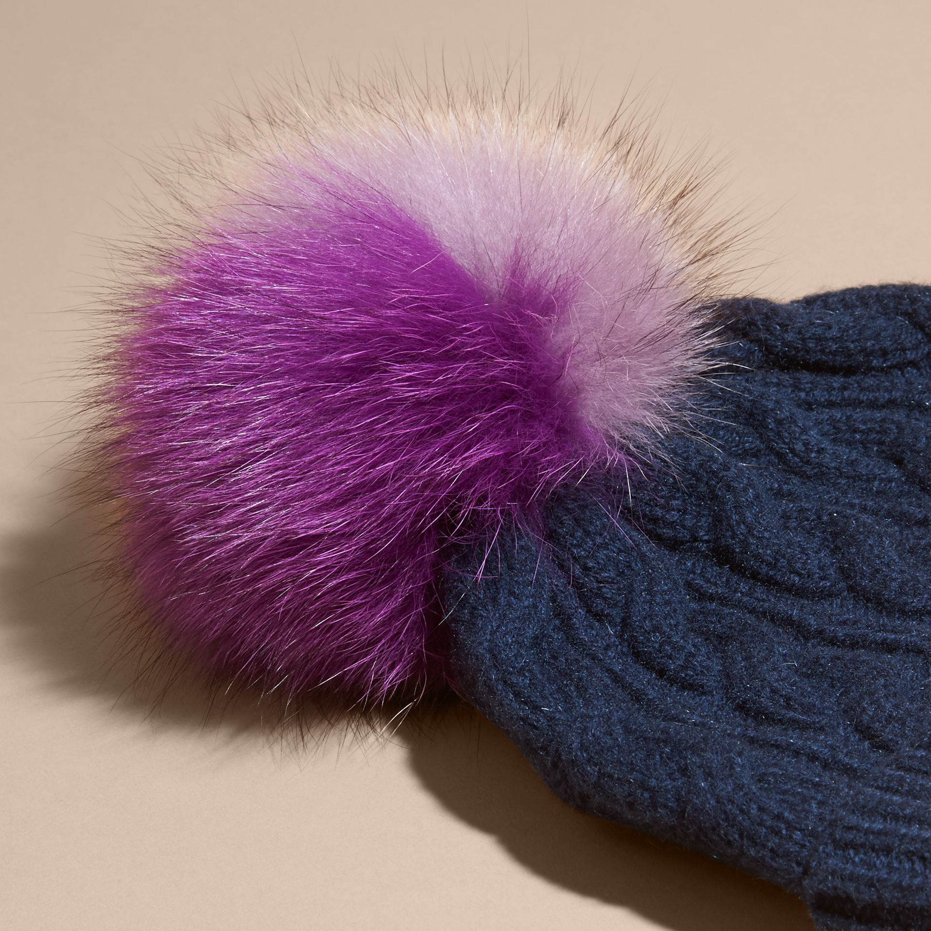 Wool Cashmere Beanie with Fur Pom-Pom in Navy - gallery image 3
