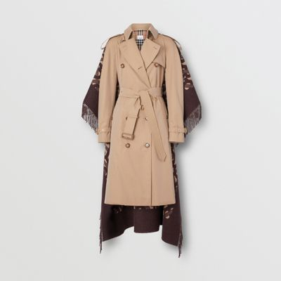 Blanket Detail Cotton Gabardine Trench Coat in Honey Women | Burberry