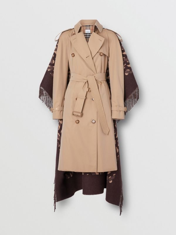 Blanket Detail Cotton Gabardine Trench Coat in Honey - Women | Burberry - cell image 3