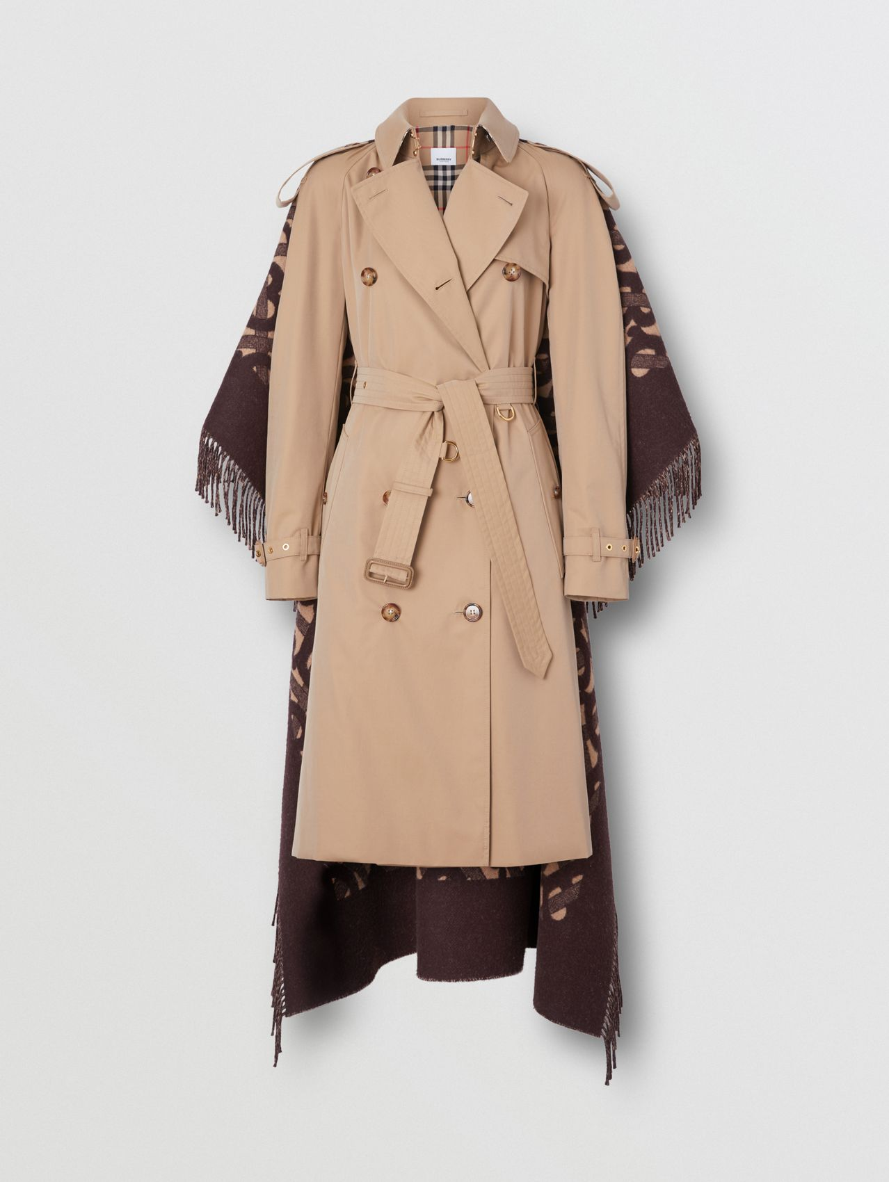 Blanket Detail Cotton Gabardine Trench Coat in Honey