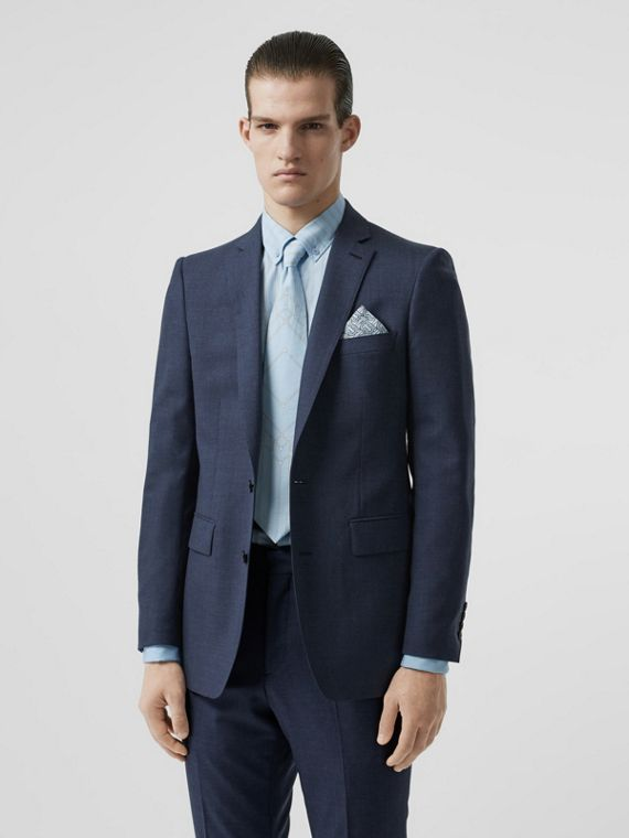 Classic Fit Wool Tailored Jacket in Steel Blue Melange