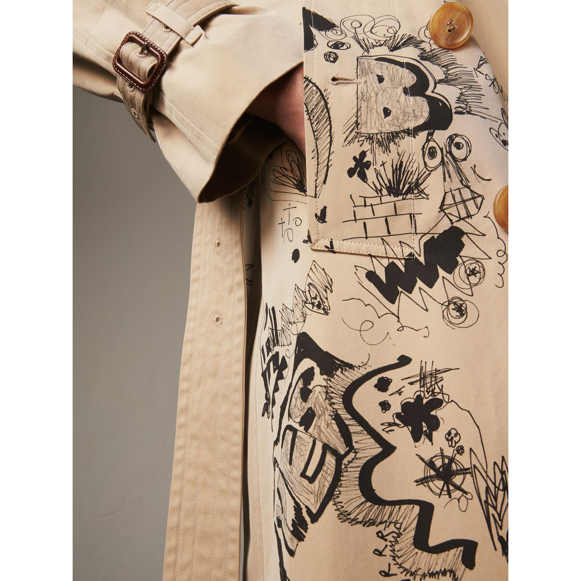 Doodle Print Cotton Gabardine Trench Coat in Honey - Men | Burberry - gallery image 1